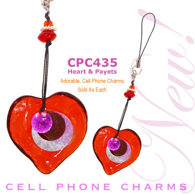 Cell Phone Charm Heart and Payets