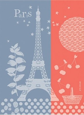 French Artists Club - Kitchen Woven Towel Paris Spring