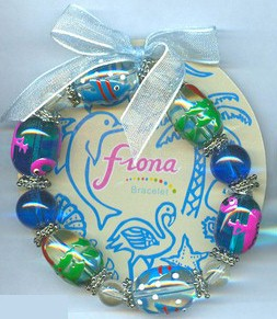 Stretch Bracelet Flamingo Fish Palm Tree