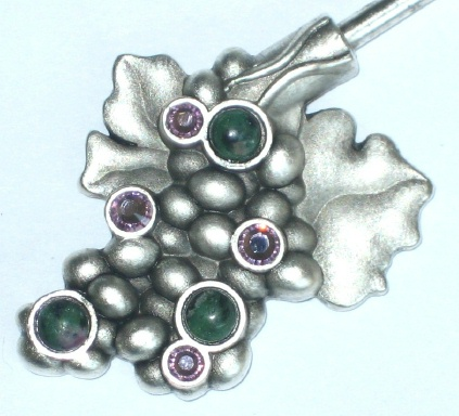 Purse Hanger - Silver Grapes with Ruby Ziosite and Swarovski Crystals