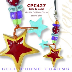 Cell Phone Charm Stars and Beads