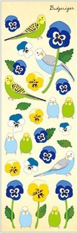 Pansy and Budgerigar Stickers